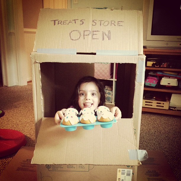 "Today we got creative and made a ""treats store"""