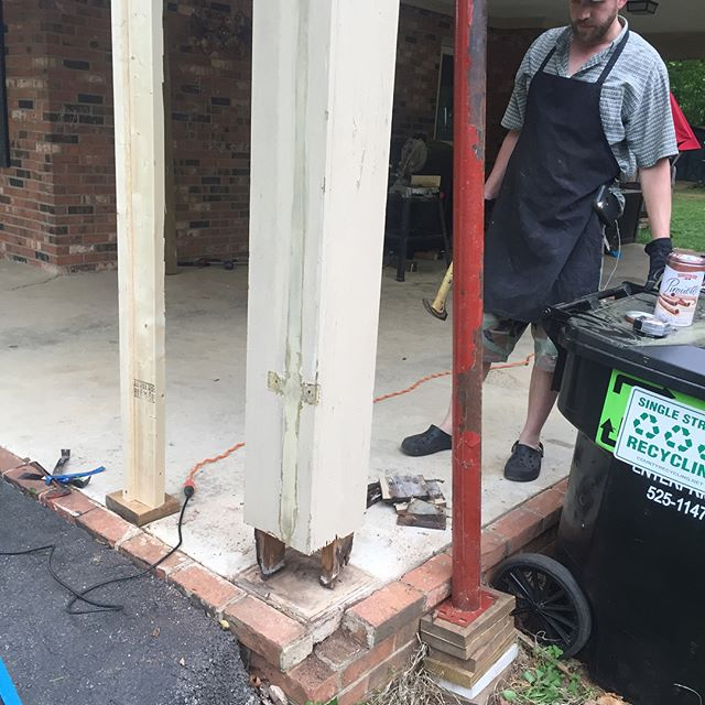 A few different angles of the rotting column we replaced with a nice new pressure treated 4x4 with a PVC cap.