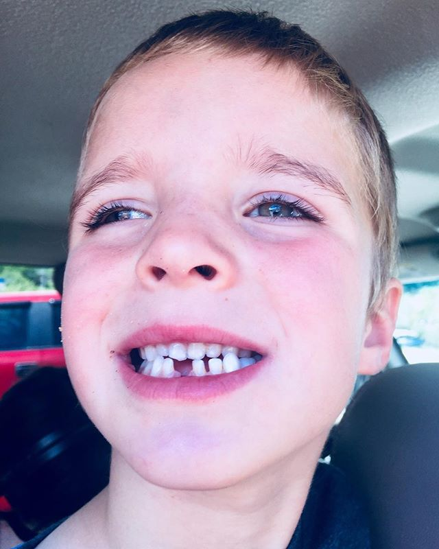 This little guy lost his first tooth yesterday! He was sitting on my lap and just spit it out on the counter! He was so sweet when the he got his money and note from the tooth fairy this morning. #liamjoseph