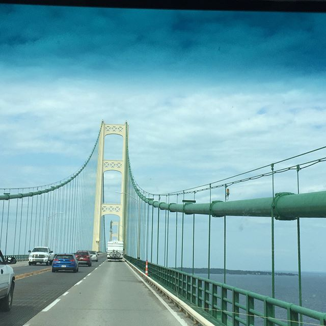 "•We crossed over the longest suspension bridge in the Western Hemisphere while pulling, Bertie, our beloved travel trailer to Upper Peninsula of Michigan. The bridge was 5 MILES long! • We stayed in the cute little town of St. Ignace and had the best time exploring the area. •And we learned that it is always ""mackinaw"" even with with c."