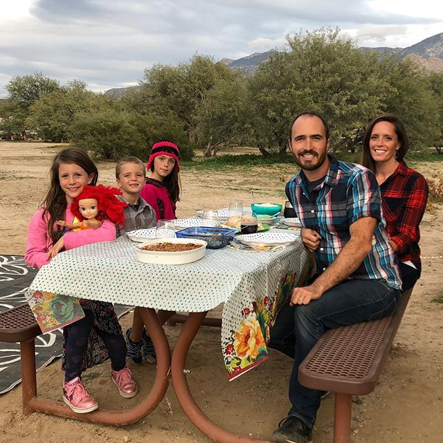 Happy Thanksgiving from our family to yours! •  First big holiday on the road was a success! I managed to cook up all our holiday favorites in the tiny rv kitchen, and Joseph fit all the left-overs in the fridge which I think was probably the bigger accomplishment . •  Hope your day was filled with lots of good food and family too! •