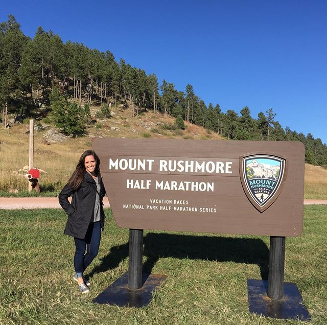 We finished up the month of September in Keystone and Rapid City, SD so I could run the Mount Rushmore Half Marathon. •  It was such a fun race! There were so many gorgeous views and so much beautiful scenery the whole 13 miles! •  If you swipe to the 2nd picture you can see when my reaction to seeing Mt. Rushmore on the course for the first time.😀 It was so cool! •  If you ever get a chance to run a race in the series. You should totally do it! It was one of the most fun races I've ever done! •